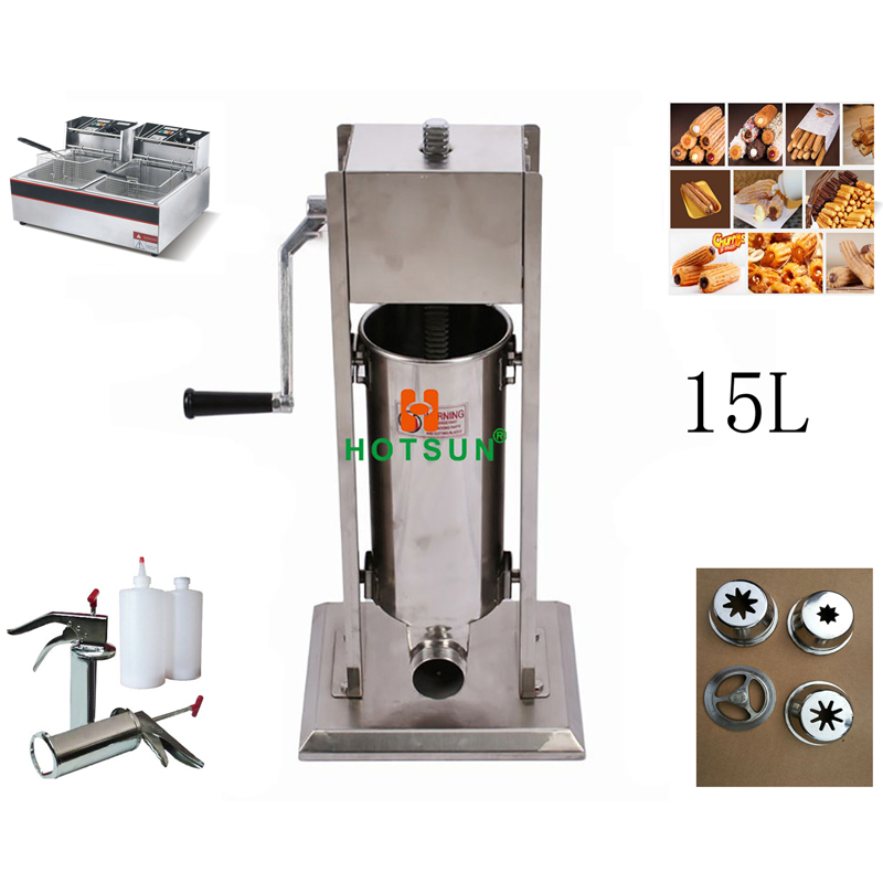 Free Shipping 15L Manual Spanish Donut Churros Machine W 12L Deep Fryer N 700ml Filler 12l automatic churros machine maker spanish snacks latin fruit machine