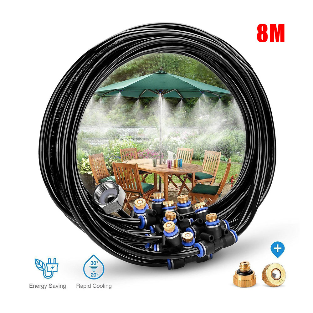 Water Spray Cooling System 8M Hose + Connector 11 irrigation Spray nozzles Watering Kits for Trampoline Outdoor Garden Sprayer