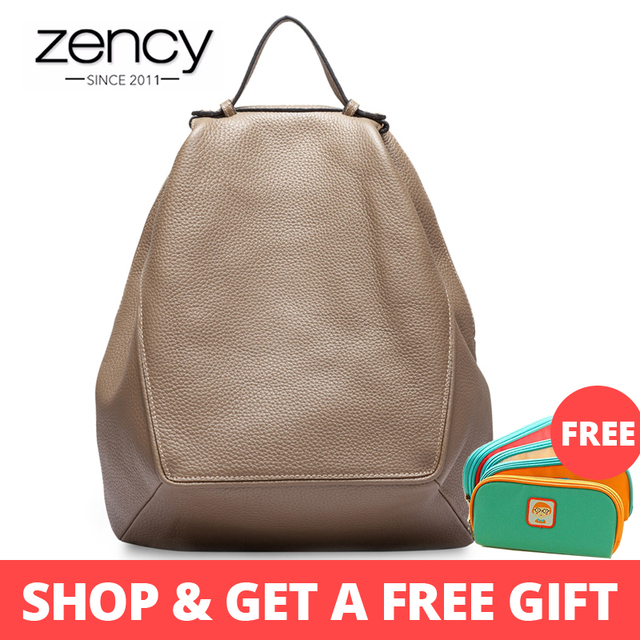 Zency Large Capacity Women Backpack The First Layer Cow Leather Female Travel Bag Schoolbag For Girls Fashion Knapsack Irregular