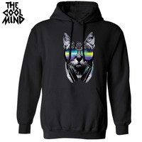 THE COOLMIND casual cool cotton blend loose music DJ cat printed men Hoodies long sleeve street style fashion sweatshirt for men