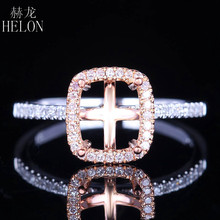 HELON UNIQUE Cushion 7x6mm Solid 14K Two Tone Gold Pave 0 2ct Natural Engagement Semi Mount