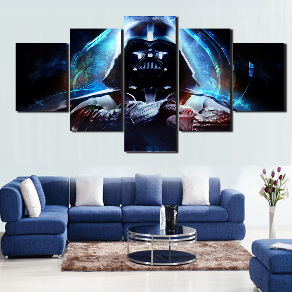 buy hot 5 panels hd star wars posters painting canvas