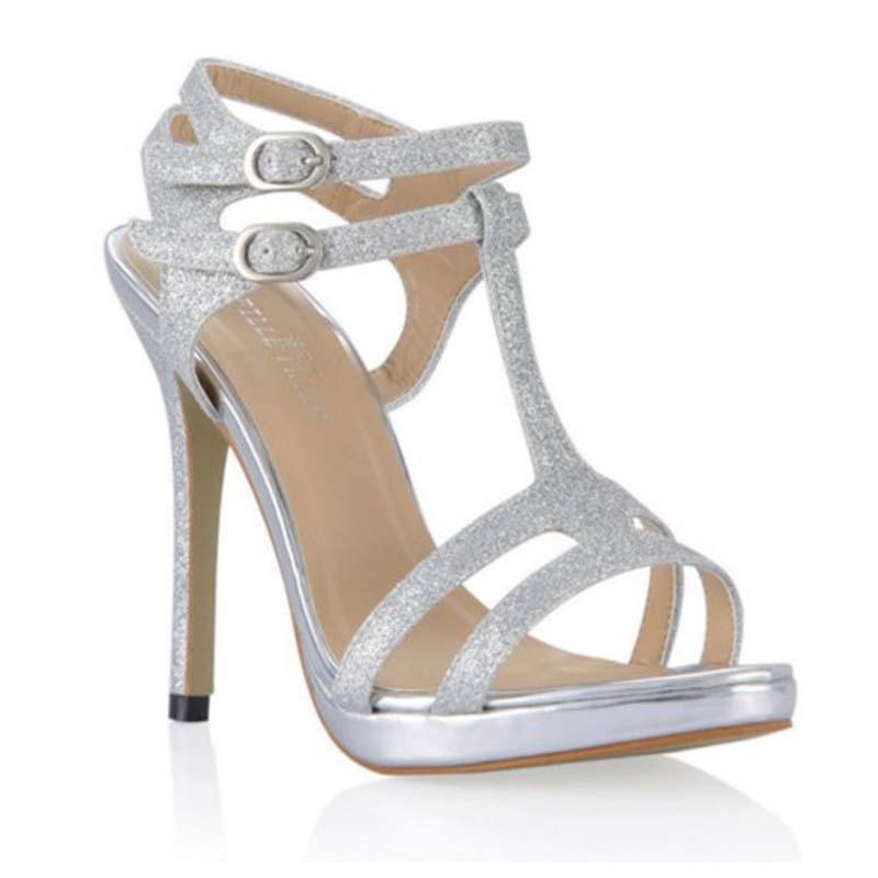 ФОТО Big Size 43 2017 Summer Fashion Women Gladiator Sandals Sexy High Heel Sandal Platform Silver T-strap Buckle Party Wedding Shoes