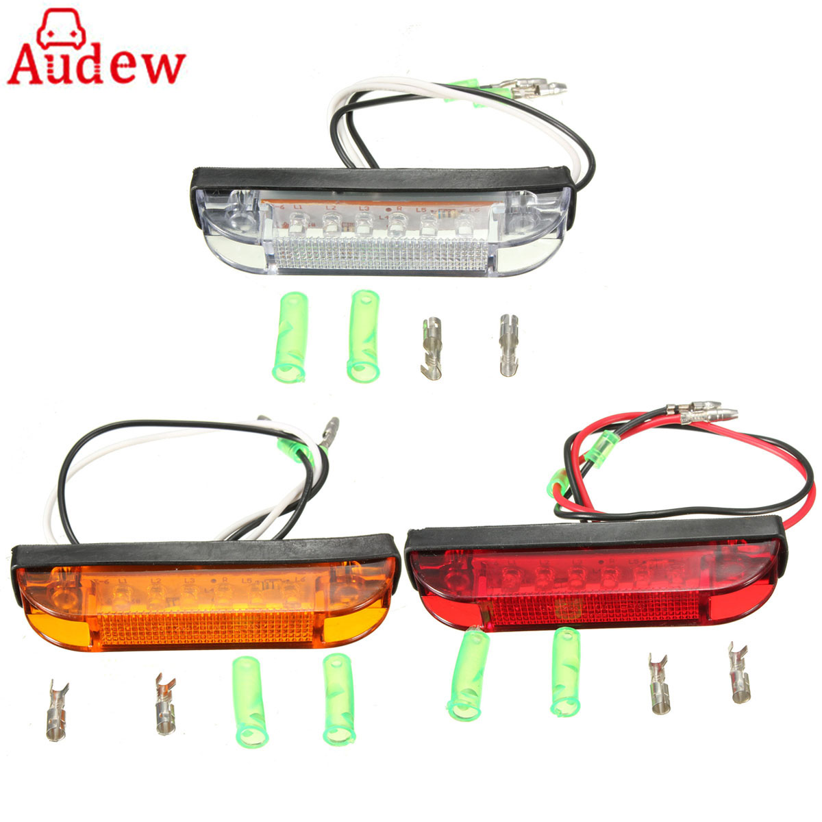 Car Truck 6 LED Utility LED Side Marker Clearance Light Lamp White Yellow Red Truck Trailer Lorry Stop Rear Lamp Side Light cyan soil bay 10pcs 3led amber waterproof side marker lights clearance lamp trailer truck bus car 3 led 12v 24v