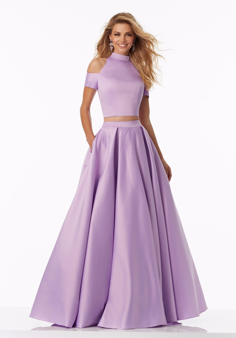 Simple Lilac Satin 2 Pieces Prom Dresses Long 2017 A line