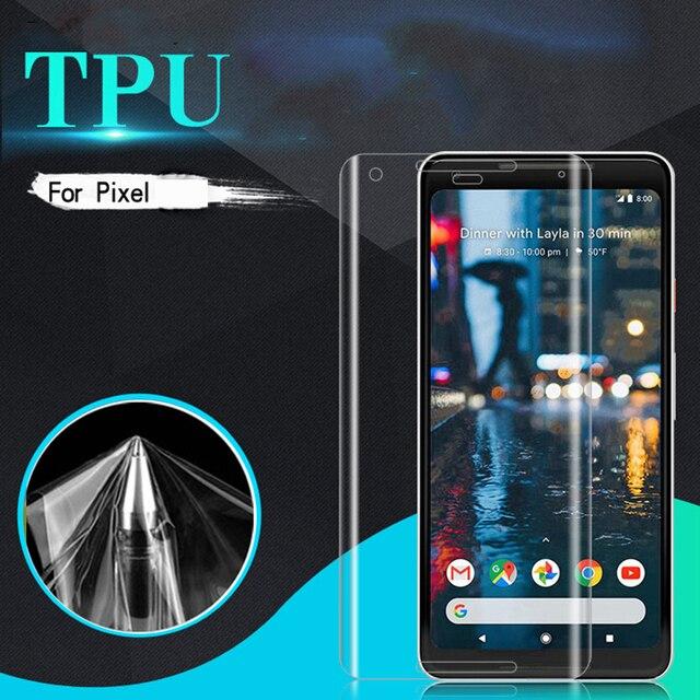Para O Google Pixel 2 XL 3D Curvo TPU Soft Capa Completa Protetor de Tela Frontal HD Limpar Film Ultrafinos Anti Arranhão guarda Para 3 XL