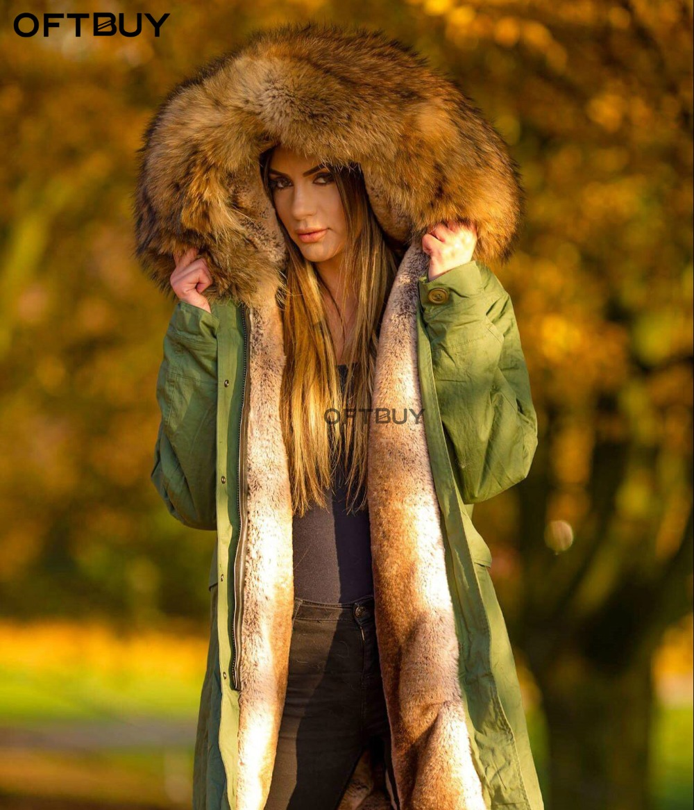 OFTBUY 2019 Long Parka Winter Jacket Women Real Fur Coat Big Natural Raccoon Fur Collar Warm