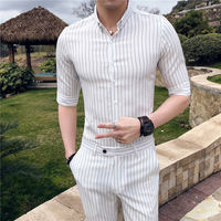 White Stripe Mens Shirts Dress Social Club Camisas Para Hombre Mens Shirts Casual Slim Fit Erkek Gomlek Black Mens Fashions