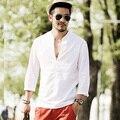 2016 Primavera Dos Homens Camisa de Manga Longa de Verão Ventilado sólido branco de linho de algodão Homem Camisas de Vestido Ocasional Slim Fit