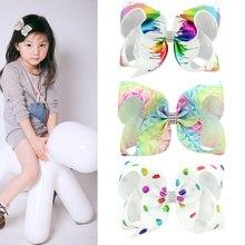 6-inch gradient print bronzing bow childrens hair clip Graffiti Ribbon Bow Hair Clips For Girls