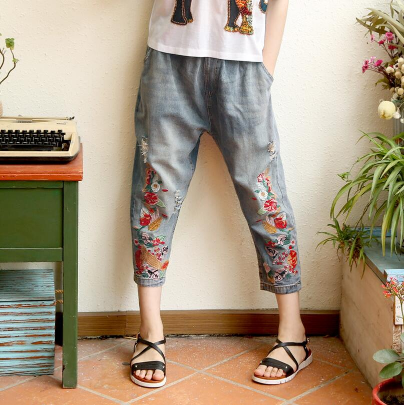 Women Spring Summer Loose Elastic Waist Jeans 2017 Retro High Quality Female hole Embroidery Harem pants Denim Pants s742 new summer vintage women ripped hole jeans high waist floral embroidery loose fashion ankle length women denim jeans harem pants