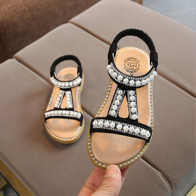 New Summer Girl Roman Style Sandals Kids Beach Sandals Girls Pearl Beading Dress Shoes Children Rhinestone Summer Shoes