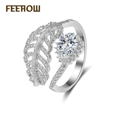 FEEROW Luxury Silver Plated Open Finger Rings Gorgeous Cubic Zircon Leaf Shape Jewelry For Bridal Wedding FWRP009