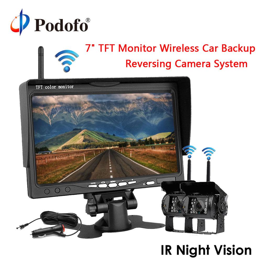 Podofo Sans Fil Vue Arrière Caméra de Recul et IR de Vision Nocturne 7 Kit de Moniteur de voiture pour Camion Bus Caravane Remorque Inverse Système