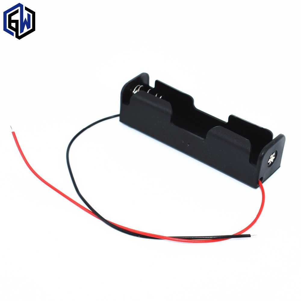 Image 1 - 5pcs 18650 Battery Holder Box Case Black With Wire Lead 3.7V Clip 5 Pcs high quality-in Integrated Circuits from Electronic Components & Supplies