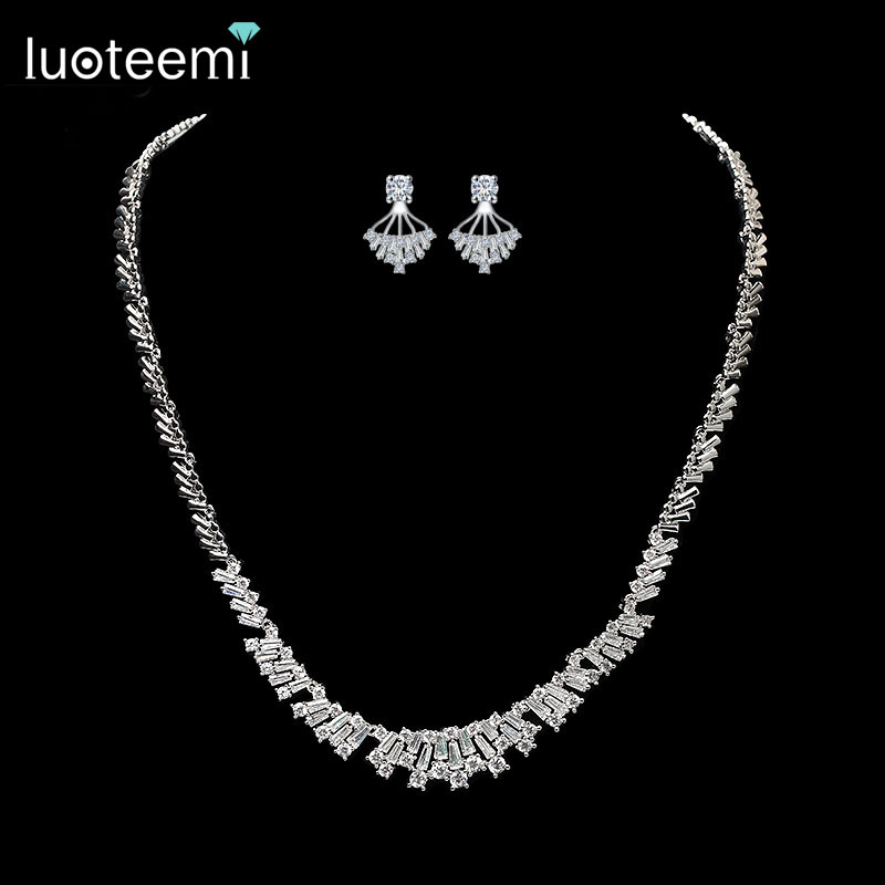 LUOTEEMI 2016 Newest Arrival Silver CZ Rhinestone Girls Earrings Necklace font b Jewelry b font Sets