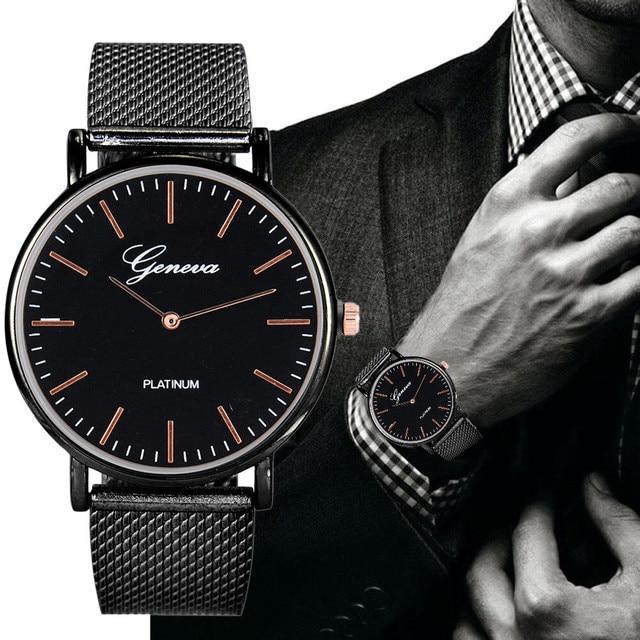 Fashion Men Watch Brand Luxury Stainless Steel Quartz Military Sport Plastic Band Dial Wrist Watch men watch relogio masculino H