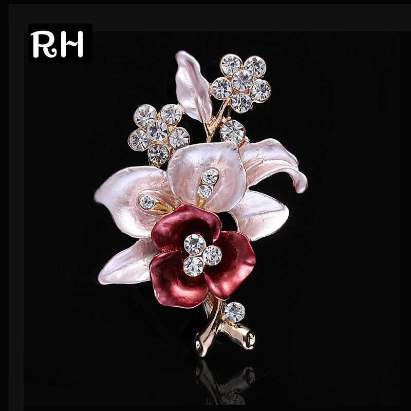 Elegant women Drip Crystal Flower brooches pins romantic brooches for women wedding party hijab pins bridal pins
