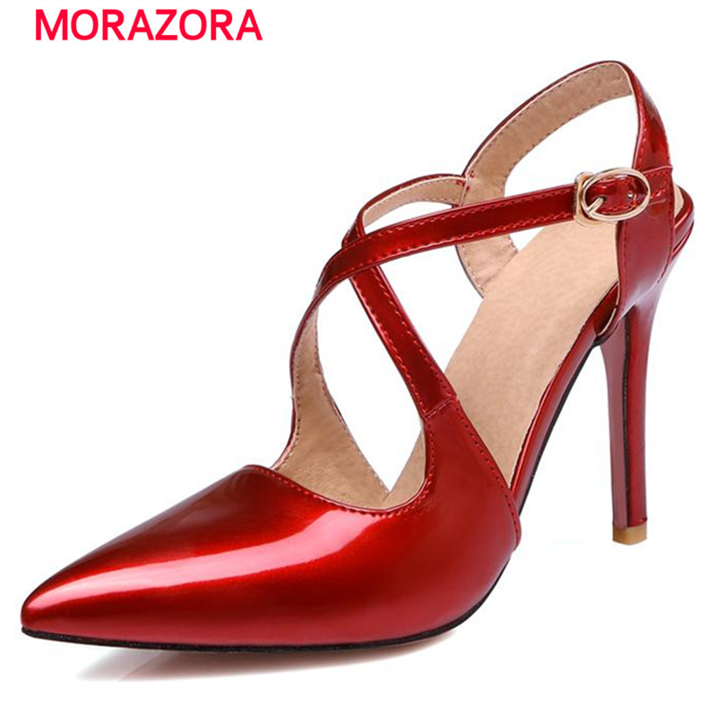 MORAZORA 2018 Woman shoes summer sandals high heels party shoes elegant fashion buckle big size 34-47 pu pointed toe creativesugar elegant pointed toe woman