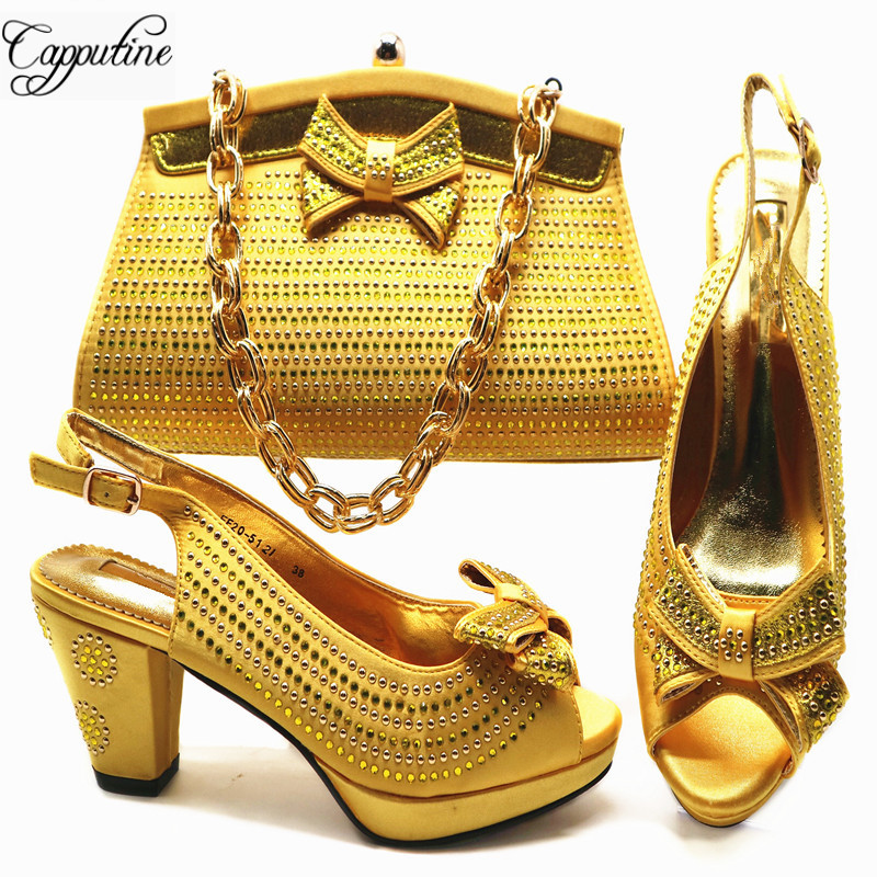 Capputine New 2018 Design African Shoes And Matching Bag Set Italian Style Pumps Yellow Color Shoes And Bag Set For Woman G54