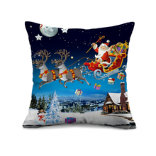 Фотография Blue background Santa delivering presents  3d Christmas Cushion Cover Christmas Gifts