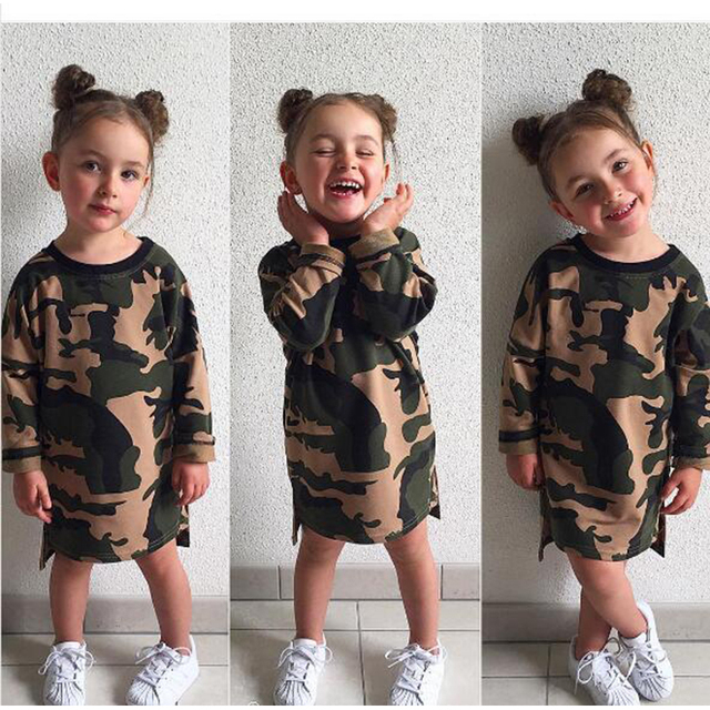 b757877ff Camouflage Girls Long Sleeve T Shirts Tops Tees Woodland Camo Baby Girl  Cotton Long T-shirt Casual Clothes 2-6 Yrs