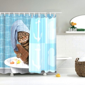 Image 5 - Dafield Cat Shower Curtain Cool Animals Funny Kitten Cat Taking a Gun With Riding a Horse Bathroom Shower Curtains with 12 Hooks