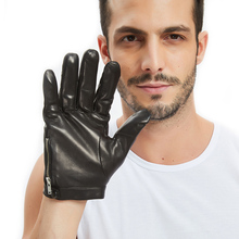 men side button with zip whole piece of Italy leather gloves black