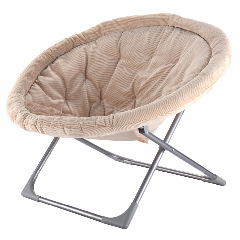 Goplus oversized large folding saucer moon chair corduroy for Big round chair