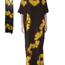 Plus size Tie dye XXXL large Long dress Diamond Sequin Golden Black Soft Cotton Dress with a Scarf