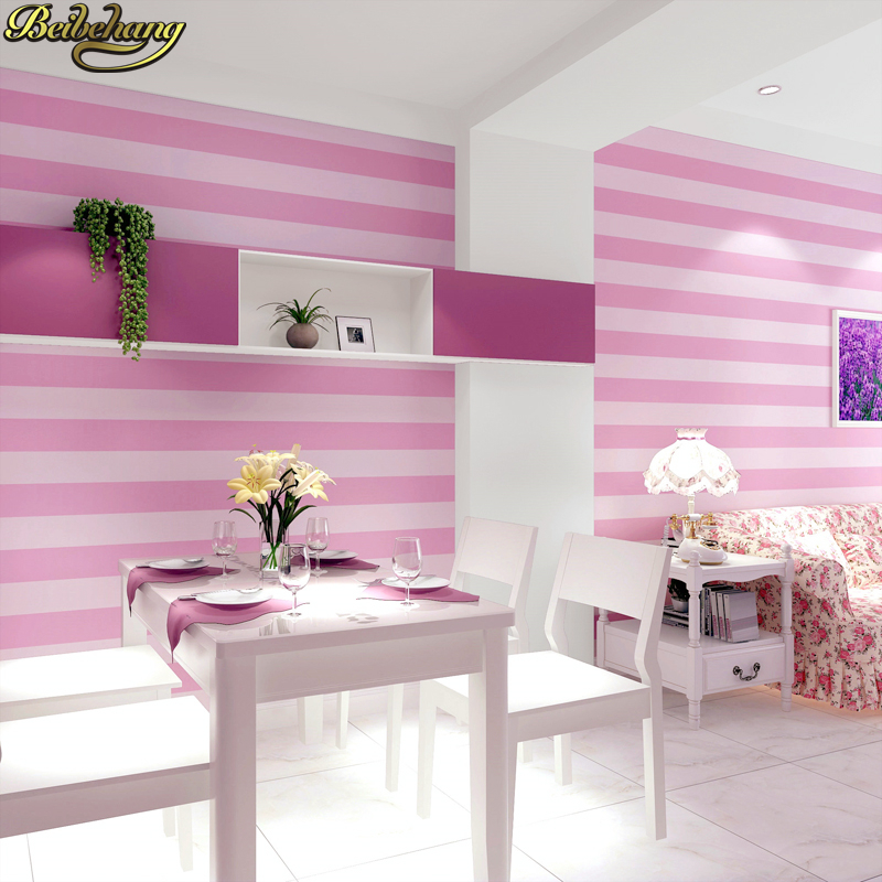 Modern Simple Style 3D Pink Striped Wallpaper for Children\'s Room ...