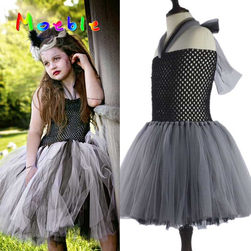 Black&Gray Children Girls Bride Of Frankenstein Tutu Dress Girls Halloween Costume Scary Monster Pageant Cosplay Gown DT-1639