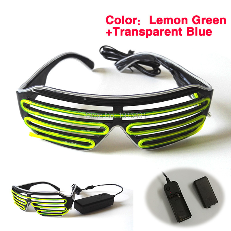DC3V Double Color Mixed Sky Blue+Lime Green EL Wire Windows Glasses Holiday Lighting Neon Led Light Up Eyewear with Converter