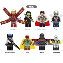 Single Marvel Avengers 3 Infinity War Part Iron Man Proxima Night Vision Gamora Ebony Maw Wasp building blocks toys for children(China)