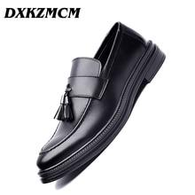 DXKZMCM Men Dress Shoes Formal Wedding Leather Shoes Business Casual Office Men's Flats Oxfords