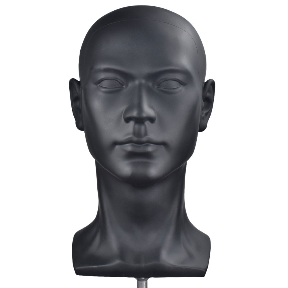 Bolihair PVC Black Men Wig Stand Head Training Head Mannequin With Ear Male Dummy Head With Free Clamp