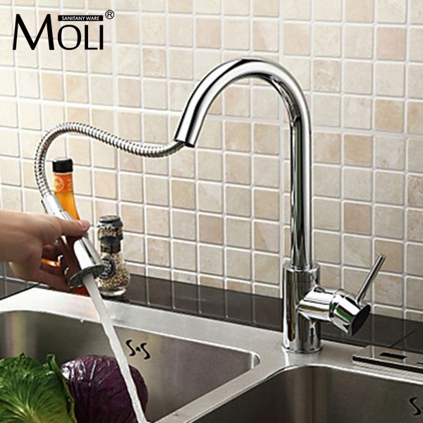 Soild brass chrome finish kitchen faucet pull down and pull out torneira cozinha with spray swivel spout chrome finish brass kitchen faucet with flexible spout wall mount