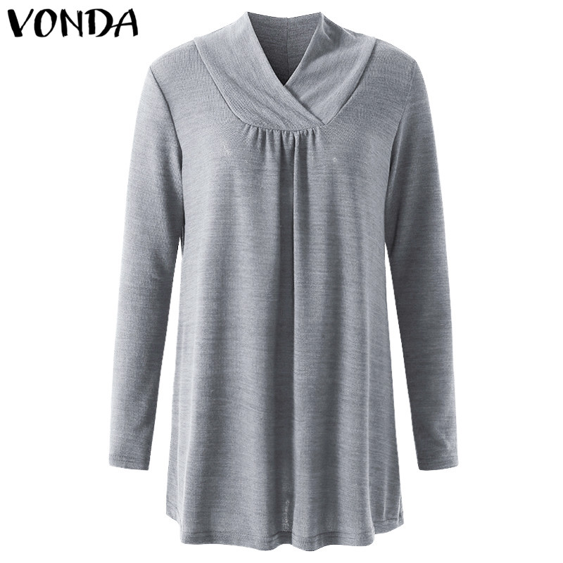 VONDA 2019 Spring Autumn Maternity Clothings Pregnant Women Casual Loose Long Sleeve Blouses Shirts Pregnancy Plus Size Tops Multan