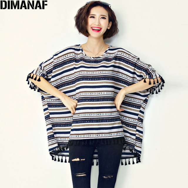 68f801a5 US $13.14 47% OFF|Big Size T Shirt Women's Cotton Striped Print Batwing  Sleeve Fashion Large Size Tops Summer Female O Neck Tshirt Fit 100KG 6XL-in  ...