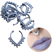 10pcs Surgical Piercing Body Jewelry Steel Gold Rose Gold Fake Septum Ring Nose Piercing Jewelry