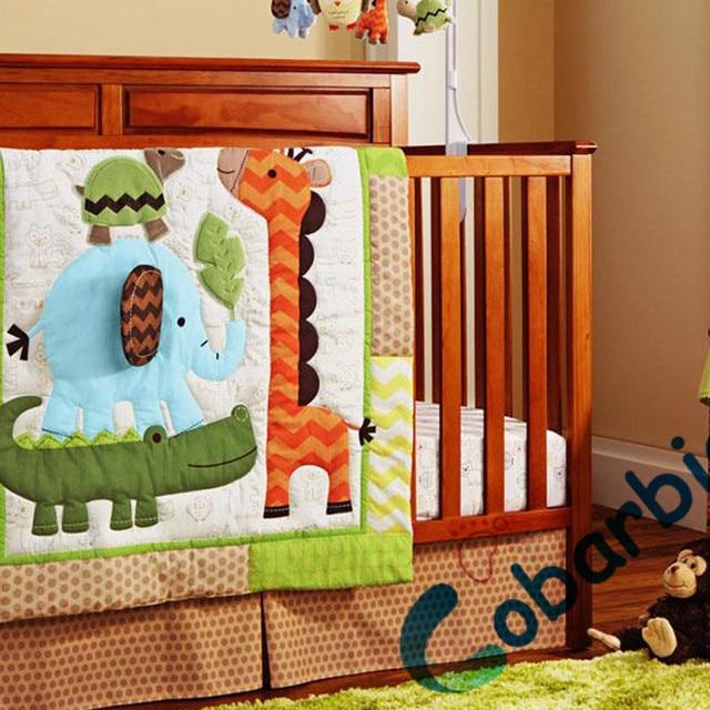 8 pc cotton animal embroidered baby crib bedding set, newborn baby boy bedroom bedding, cot nursery bedding quilt bumper sheets