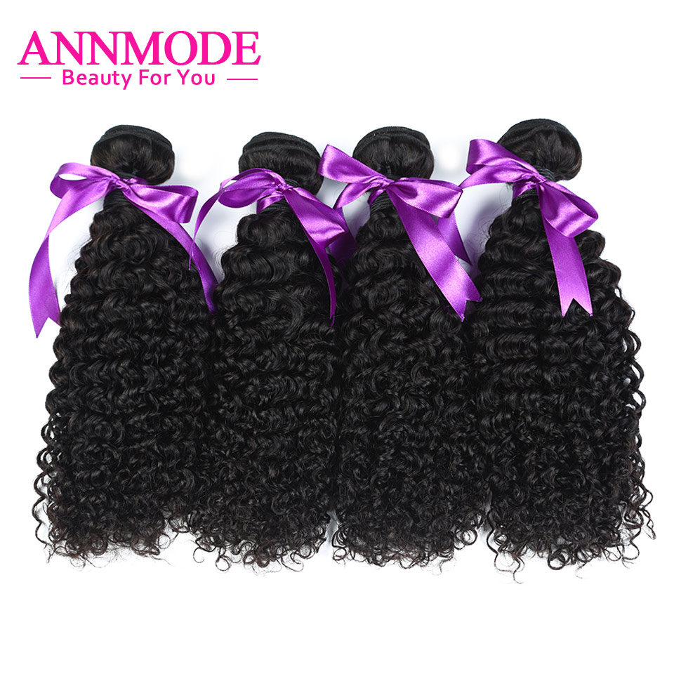 Indian Kinky Curly Human Hair Weave Bundles Non Remy Hair Extensions Natural Color 4 pcs/lot 8-28 inch Annmode