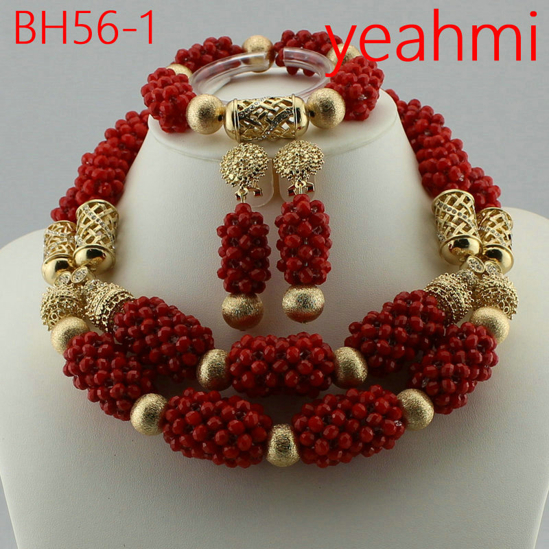 2018 Free Shipping Nigerian Beads Wedding Jewelry Set Bridal Dubai Gold-color Jewelry Sets African Beads Jewelry Set BH56-2 free shipping china manufacturer sell jewelry set italian gold color jewelry sets bridal elegant jewelry set