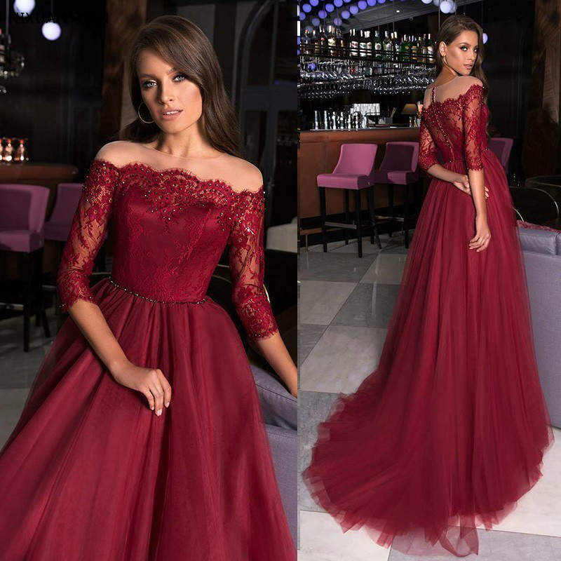 Robe De Soiree Vestidos 2019 Burgundy Long   Prom     Dresses   Elegant A Line Off Shoulder Lace Formal Party Gowns