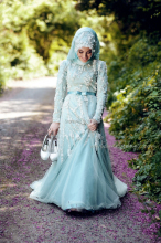 OumeiyaW0253 high neck full long sleeve heavy beaded hijab custom made abiti da sposa long sleeve muslim wedding dress