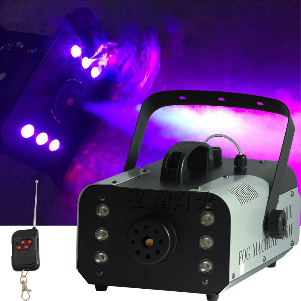 2018 NEW ! Remote LED 900W smoke machine, RGB 3IN1 fog machine professional stage DJ equipment freeshipping sample 900w led smoke machine 30pcs 10mm bule leds smoke coverage 1000ft cu min fog oil tank capacity 1 5l remote