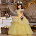 Lace Yellow Flower Girl Dress 2017 Beautiful Daminha Pageant Ball Gowns For Girls Kids Prom Dresses Meisjes Jurk Communie