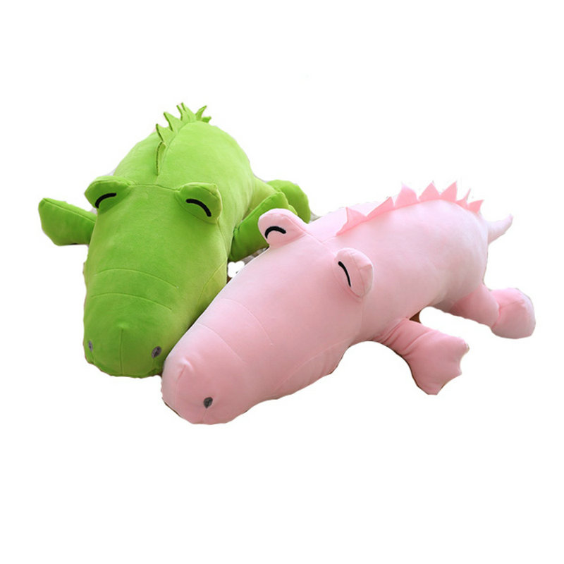 Cute pink/green/gray stuffed soft plush pillow Cushion animals doll birthday gift 90cm 2018 New Style Frog Crocodile Plush Toys hot sale cute dolls 60cm oblong animals pillow panda stuffed nanoparticle elephant plush toys rabbit cushion birthday gift