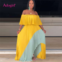 Adogirl Color Patchwork Maxi Pleated Dress Elegant Women Slash Neck Ruffle Off Shoulder Long Evening Party Fashion Clothes