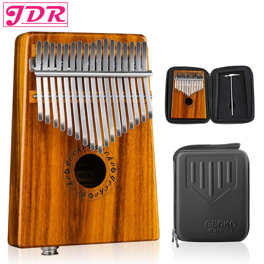 JDR Kalimba Pickup Mbira Gecko 17 Keys EQ Connector Walnut Wood Thumb Piano EVA High Performance Box Keyboard Musical Instrument-in Piano from Sports & Entertainment    1